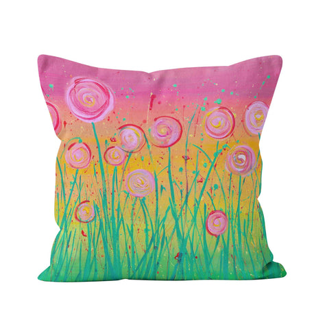 Pink Flowers Pillow - Louise Mead