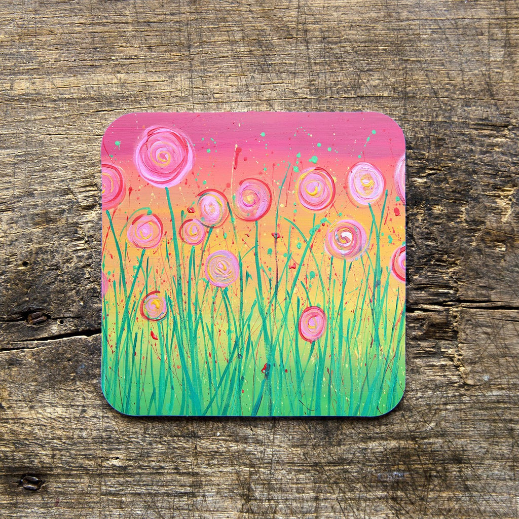 Pink Flowers Coasters - Louise Mead