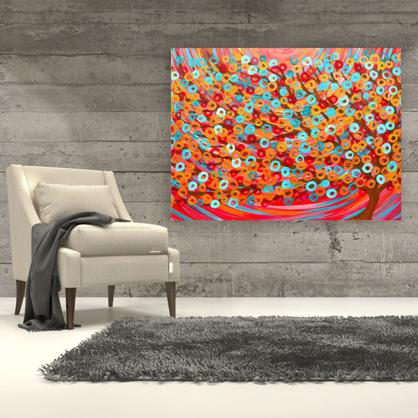 Red Tree Canvas Print - Louise Mead