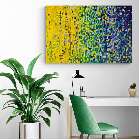 Summer Nights Impressionist Blue & Green Canvas Print