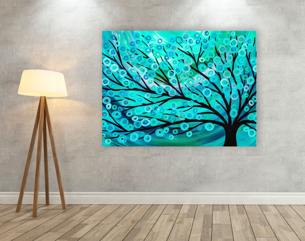 Teal & Turquoise Tree Canvas Print - Louise Mead