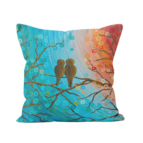 Turquoise & Orange Love Birds Pillow
