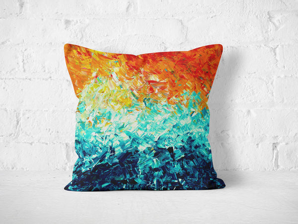 Orange & Blue Cushion - Louise Mead