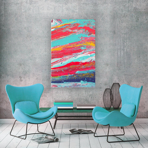 Tides Abstract Painting by Louise Mead - Red Blue Gold and White