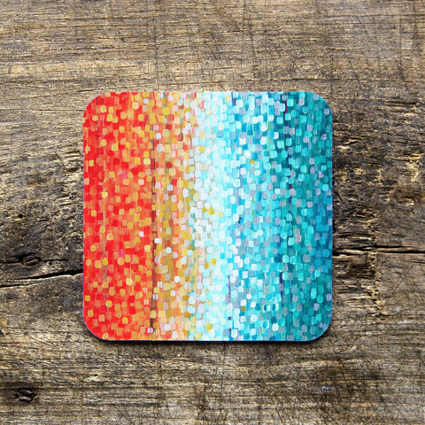 Turquoise & Orange Coasters - Louise Mead