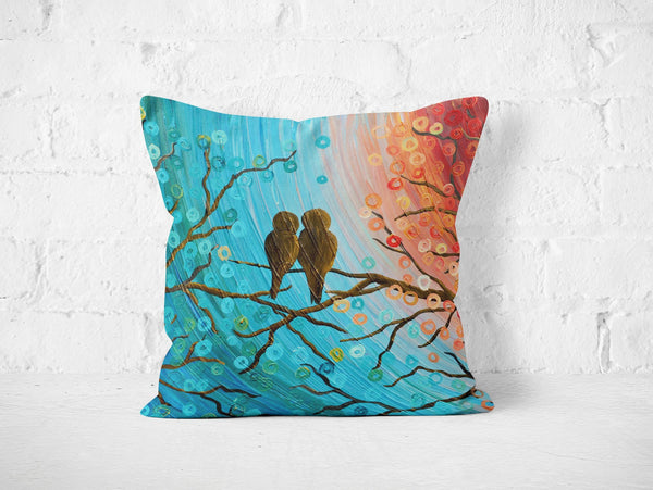 Turquoise & Orange Love Birds Pillow - Louise Mead