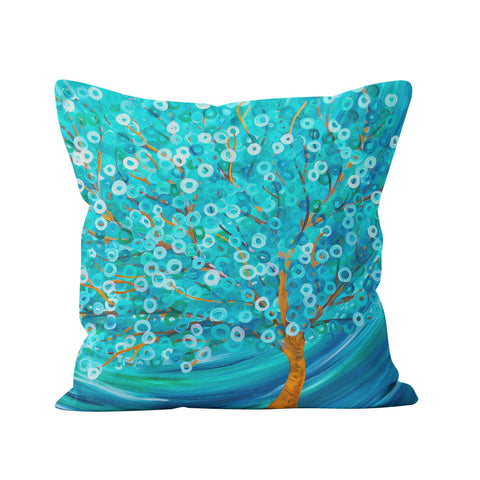Teal Tree Throw Pillow - Louise Mead