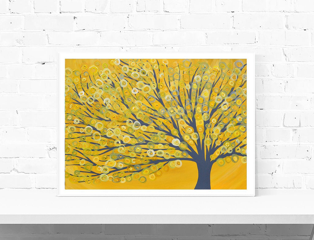 Yellow & Grey Abstract Tree Wall Art Print
