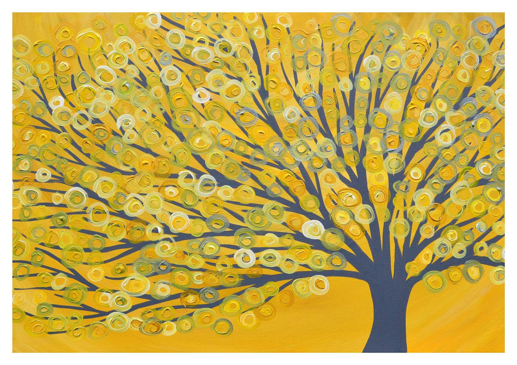 Yellow & Grey Abstract Tree Print from Original Painting by Louise Mead