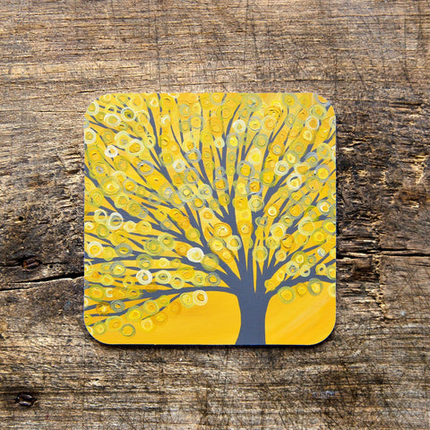 Yellow & Grey Tree Coaster