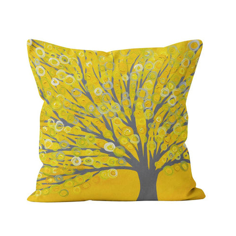 Yellow & grey tree cushion.