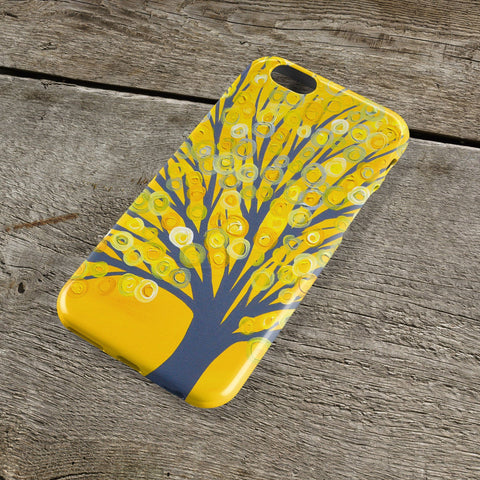 Yellow & Grey Tree iPhone Case