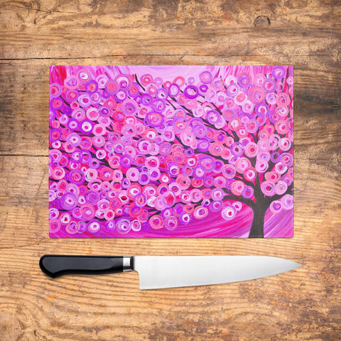 Raspberry Tree Glass Chopping Board - Louise Mead