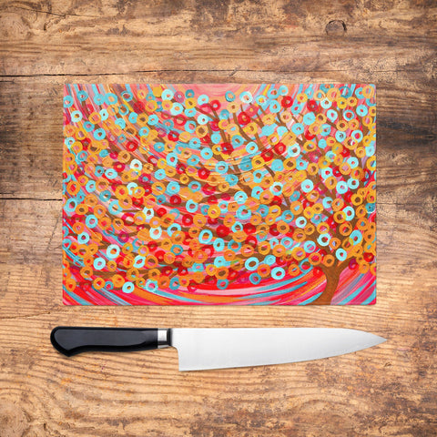 Red Tree Glass Chopping Board