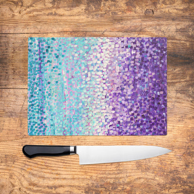 Turquoise & Purple Glass Chopping Board - Louise Mead