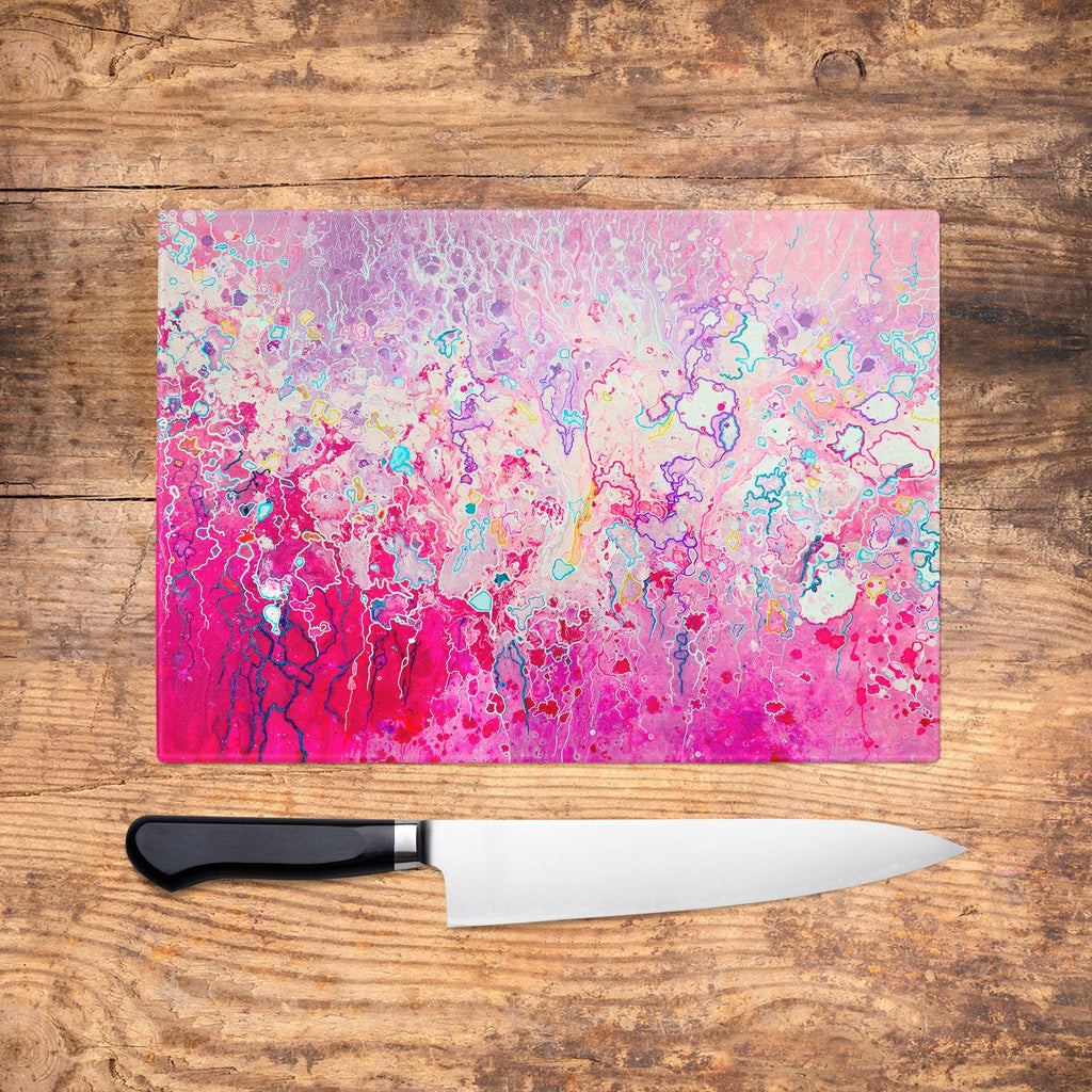 Pink Glass Chopping Board - Louise Mead