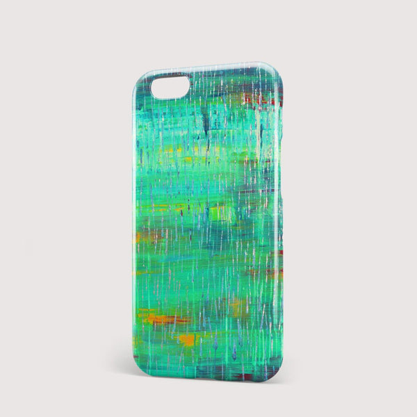 Rain Green Abstract iPhone Case - Louise Mead