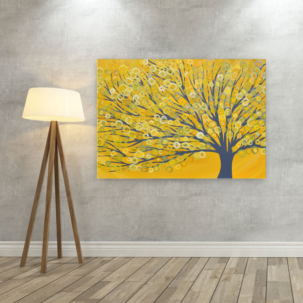 Yellow Canvas Picture - Yellow & Grey Tree Canvas Print - Yellow ...