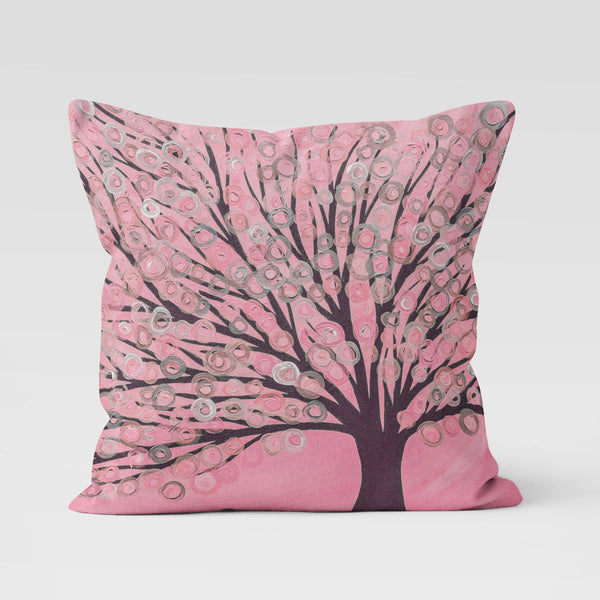 Pink & Grey Tree Cushion - Louise Mead