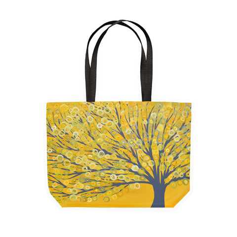 Yellow & Grey Tree Canvas Tote - Louise Mead