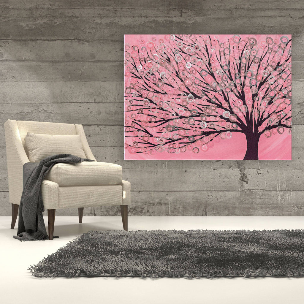 Pink & Grey Tree Canvas Print - Louise Mead