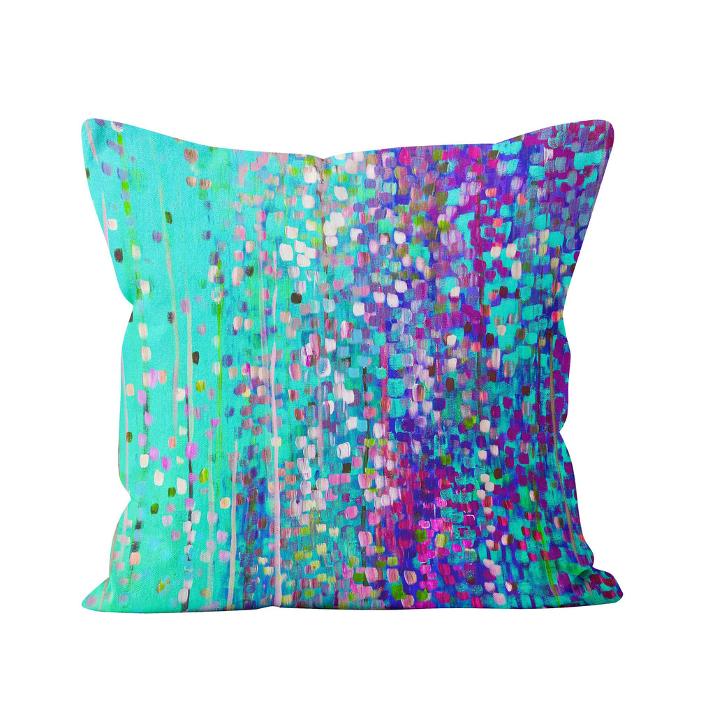 Turquoise & Purple Abstract Cushion - Louise Mead
