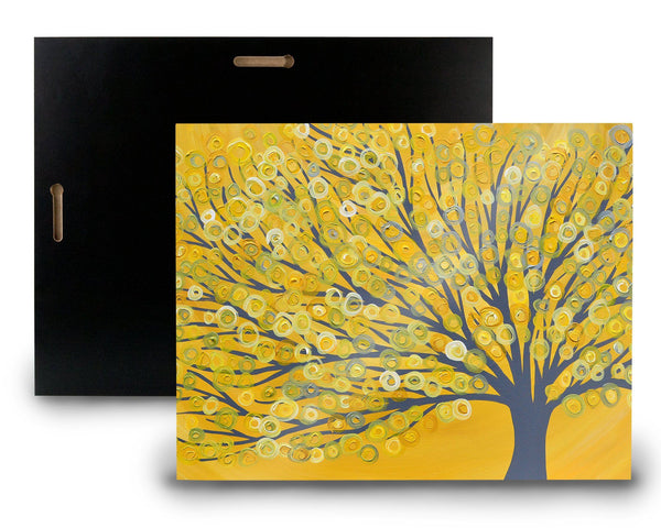 Yellow & Grey Tree Wooden Panel Print - Louise Mead