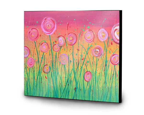 Pink Flowers Wooden Print - Louise Mead