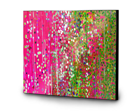 Pink & Green Wooden Print - Louise Mead