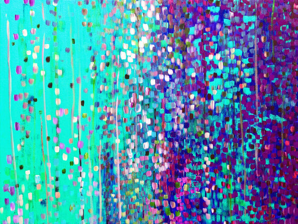 Turquoise & Purple Abstract Art Print - Louise Mead