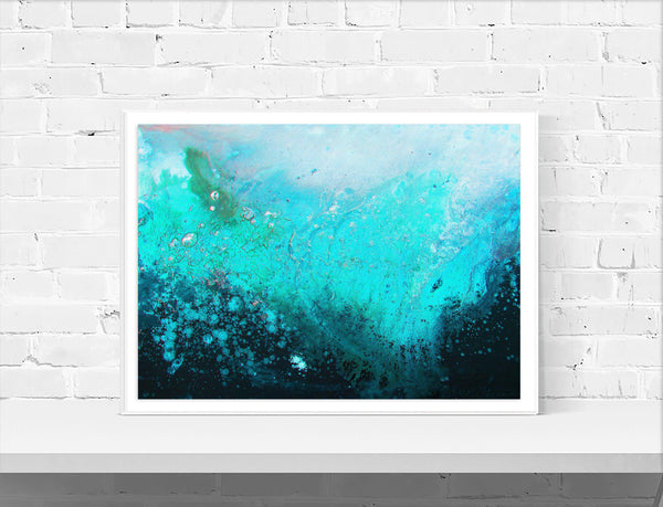 Teal & Turquoise Abstract Wall Art Print - Louise Mead