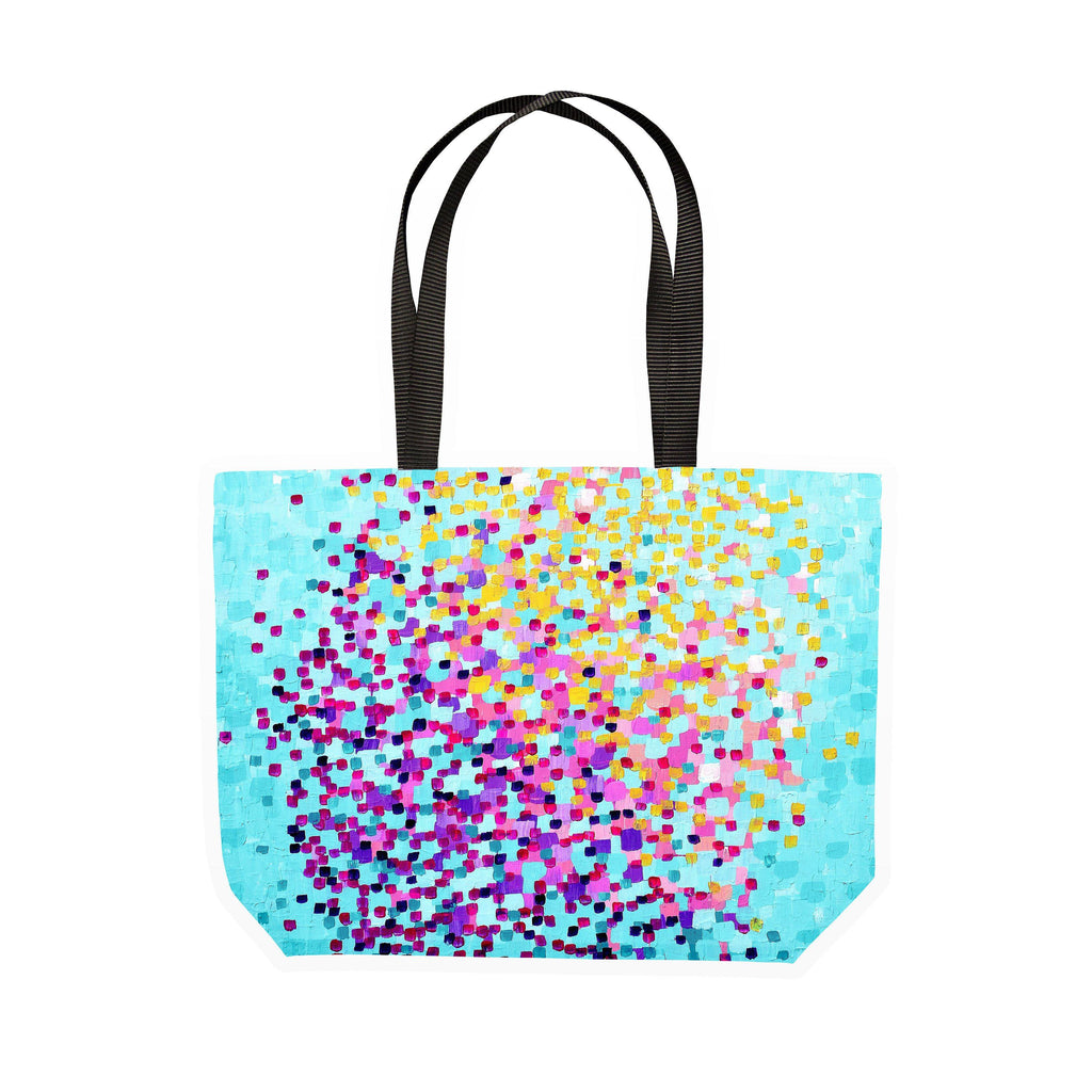 Turquoise & Purple Canvas Tote - Louise Mead