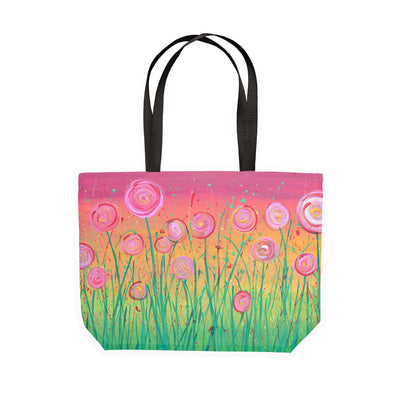 Pink & Green Flowers Canvas Tote - Louise Mead