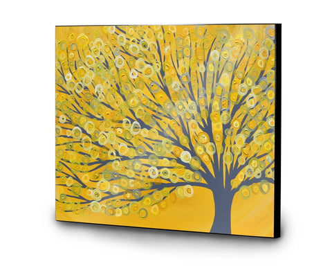 Yellow & Grey Tree Wooden Panel Print