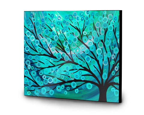 Teal Tree Wooden Print