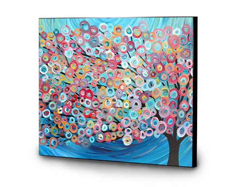 Blue Abstract Tree Wooden Print