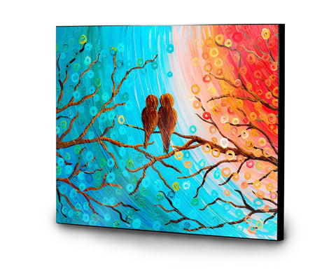 Lovebirds Wooden Panel Print - Louise Mead