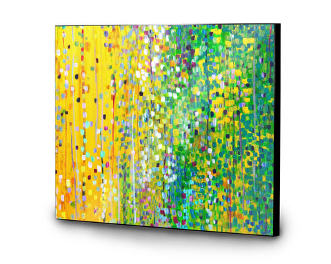 Yellow & Green Wooden Panel Print - Louise Mead