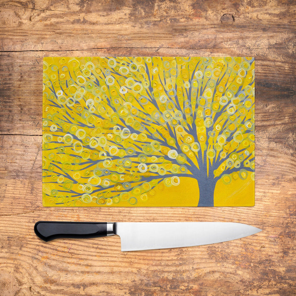 Yellow Tree Glass Chopping Board - Louise Mead