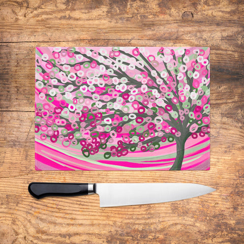 Pink & Sage Glass Chopping Board - Louise Mead
