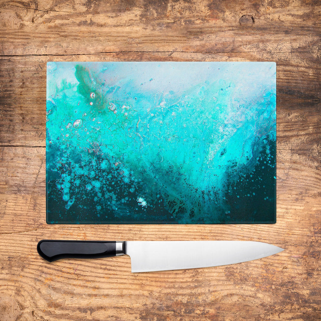 Teal Abstract Glass Chopping Board - Louise Mead