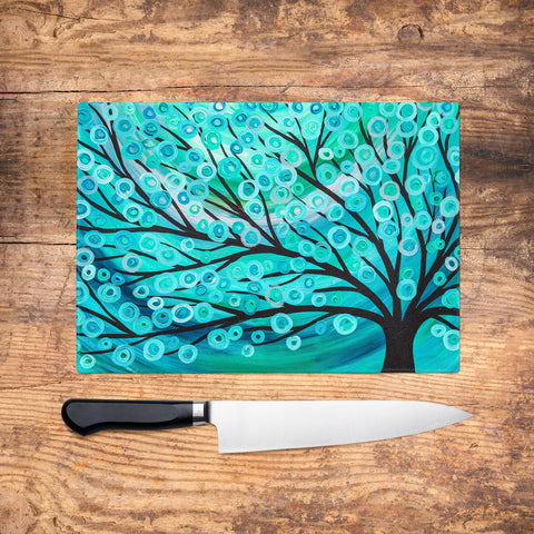 Teal Tree Glass Chopping Board - Louise Mead