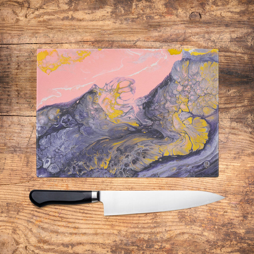 Pink & Navy Glass Chopping Board
