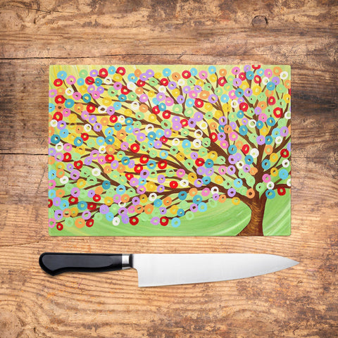 Rainbow Tree Glass Chopping Board - Louise Mead