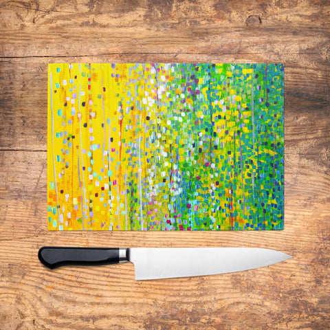 Yellow & Green Glass Chopping Board