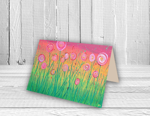 Rainbow Flowers Greeting Card - Louise Mead