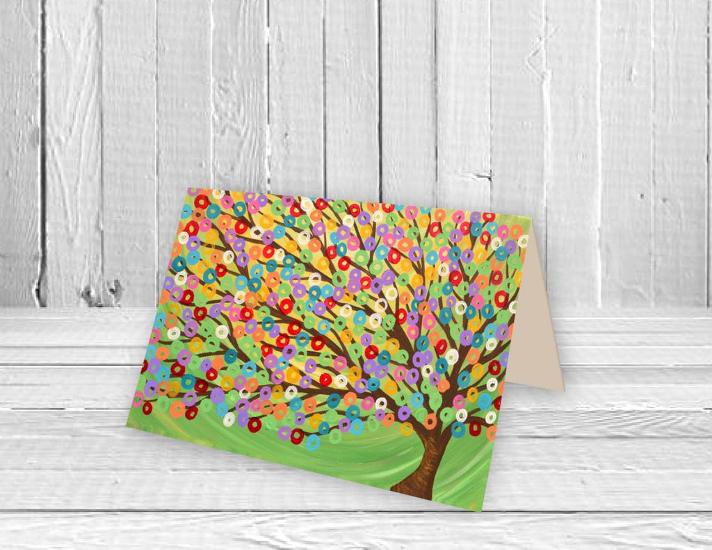 Green Tree Greeting Card - Louise Mead