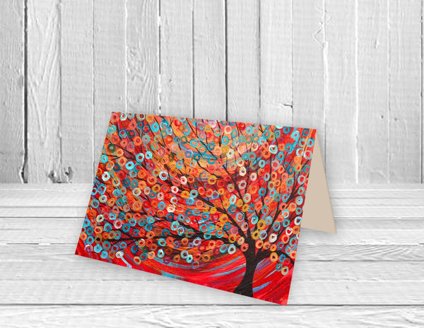 Red Abstract Tree Greeting Card - Louise Mead