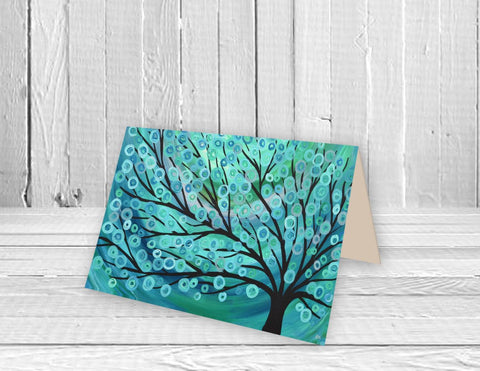 Teal Abstract Tree Greeting Card - Louise Mead