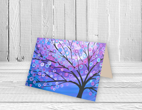 Purple Tree Greeting Card - Louise Mead